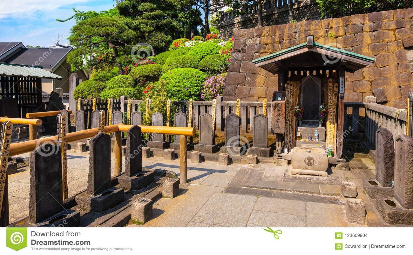 The Grave Of 47 Ronin At Sengakuji Temple In Tokyo, Japan Stock