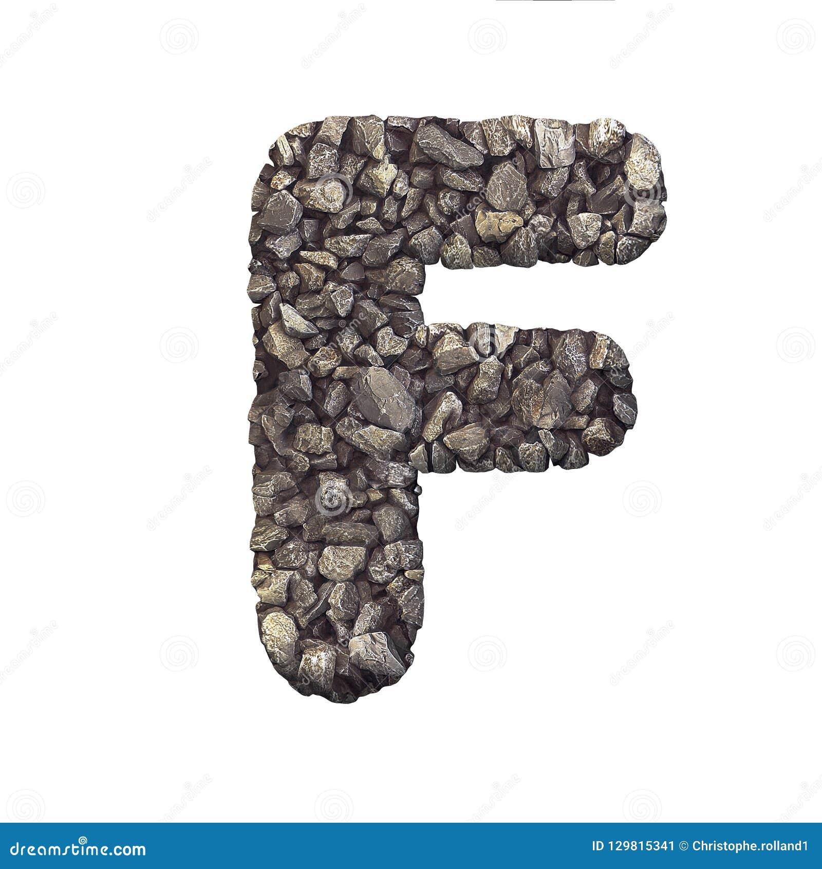 Gravel Letter F - Upper-case 3d Crushed Rock Font - Nature