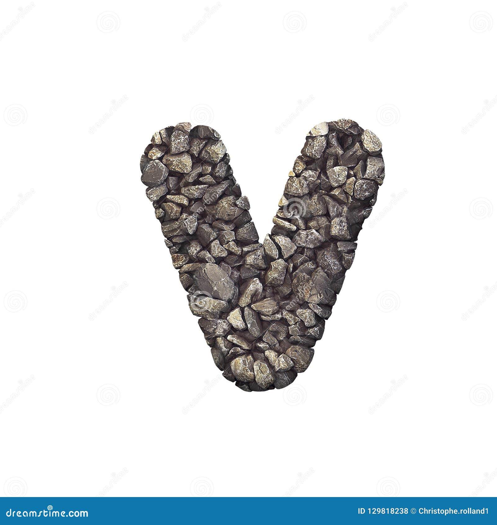 Gravel Letter V - Lowercase 3d Crushed Rock Font - Nature