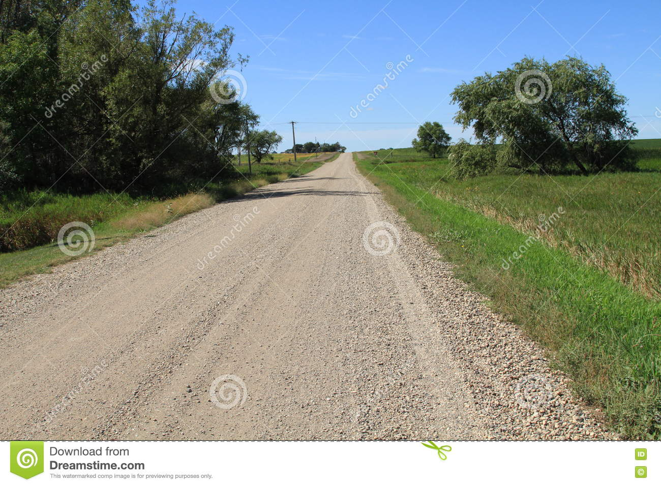 Gravel Road On A Partly Cloudy South Dakota Day Stock Image