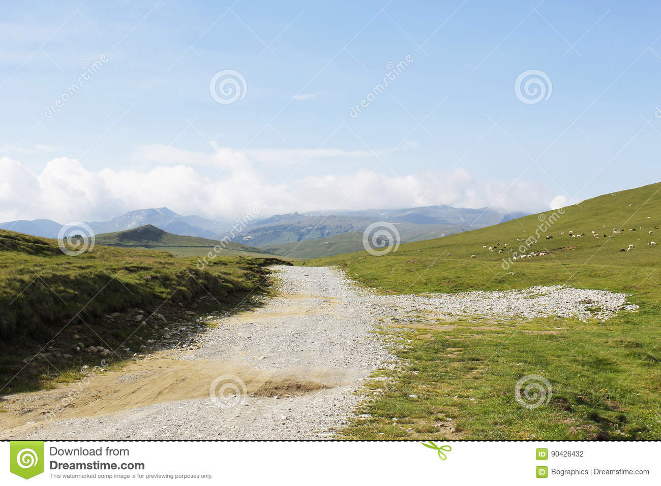 Gravel road on top of mountain