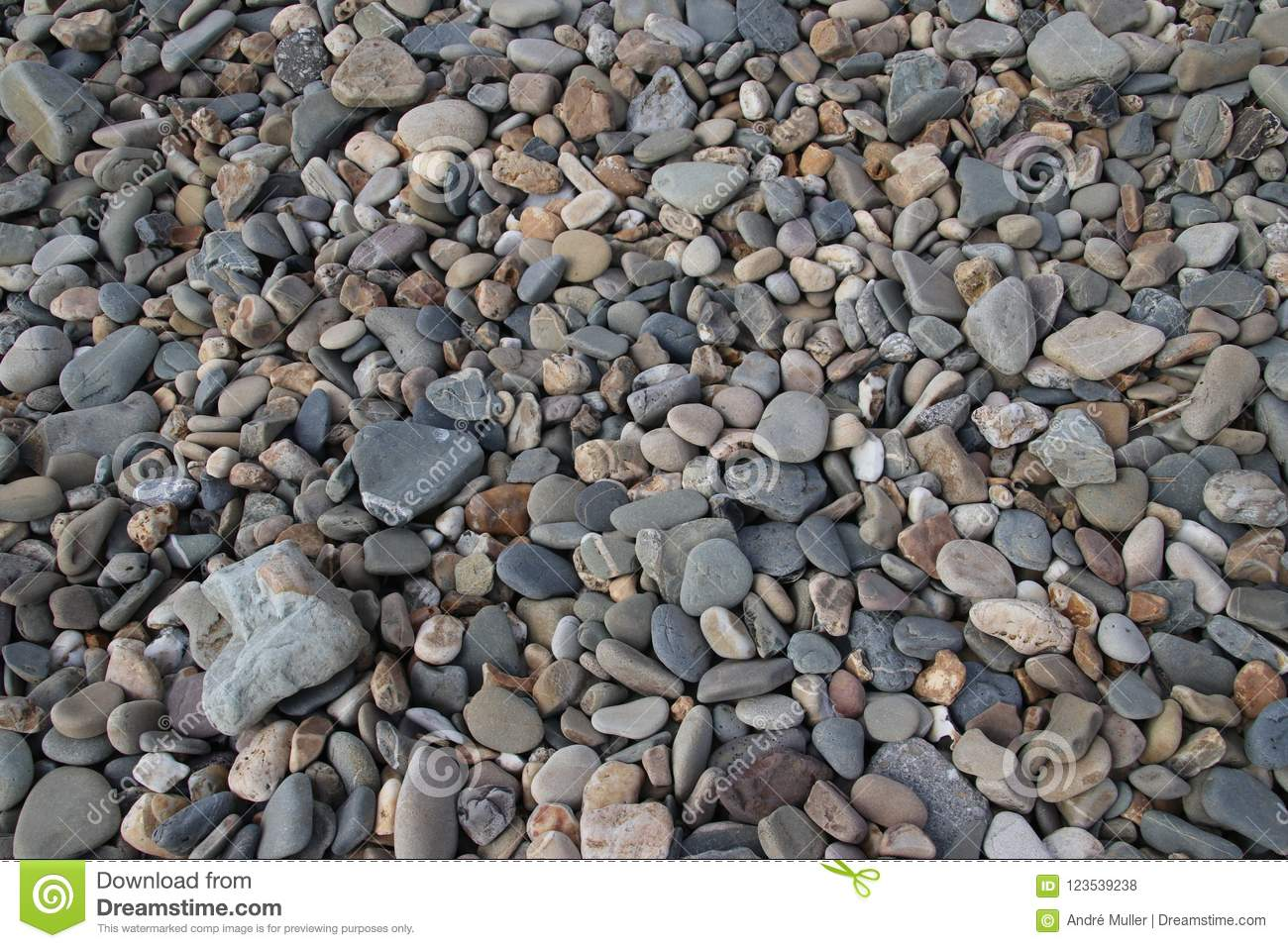 Gravel And Stones In All Kind Of Sizes At The Beach Shore Of