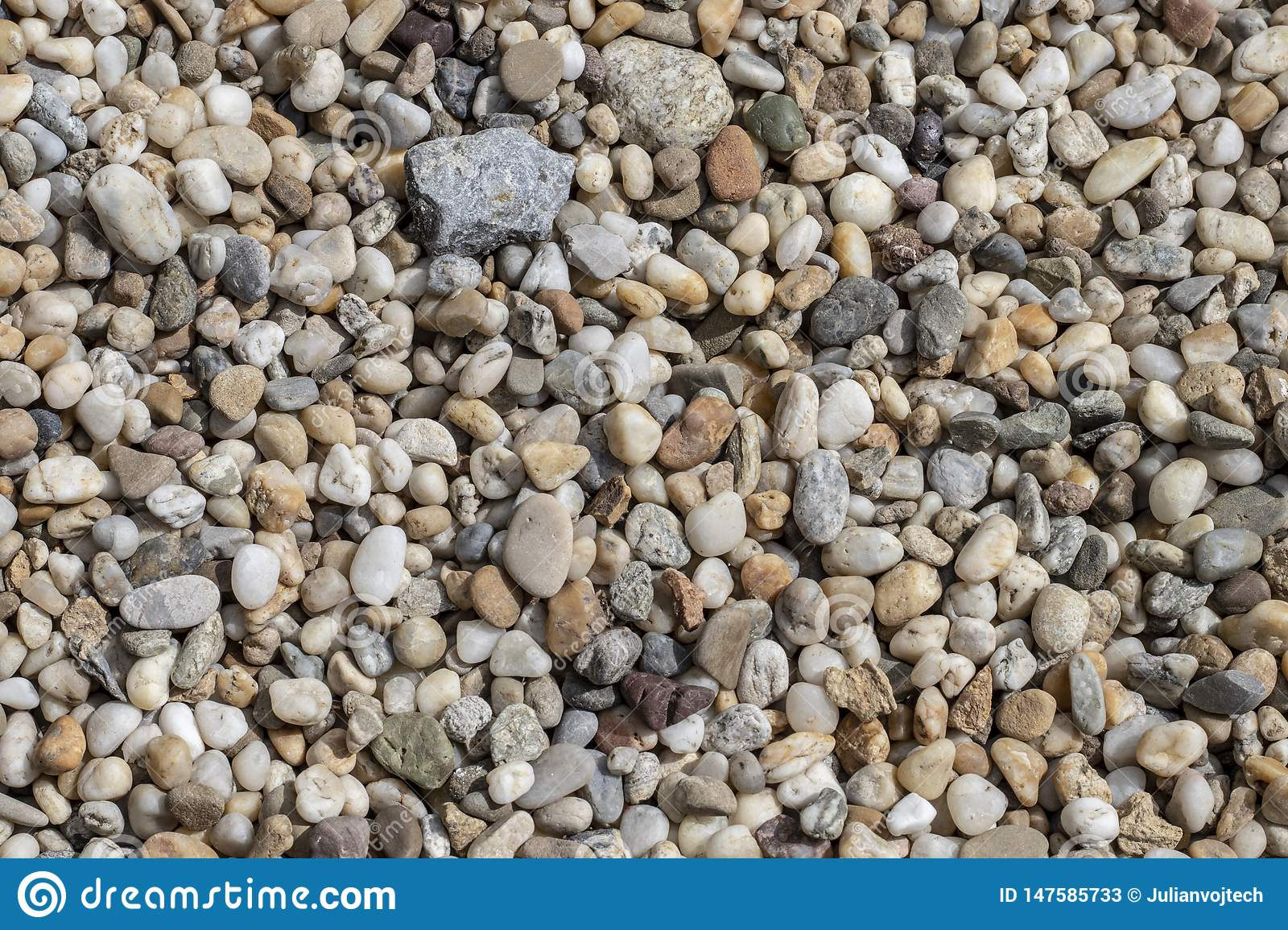 Gravel texture. Small stones, little rocks, pebbles in many shades of grey, white, brown, green and blue.