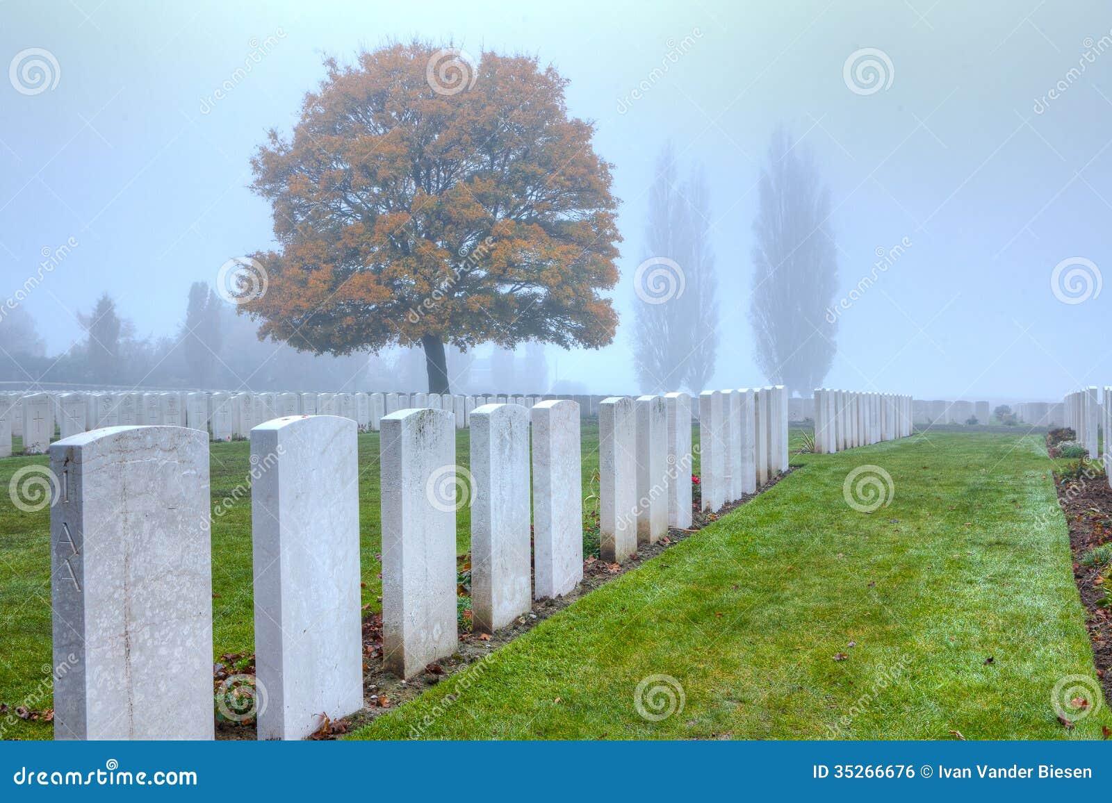 Graven van WWI-militairen in Tyne Cot, de Gebieden van Vlaanderen