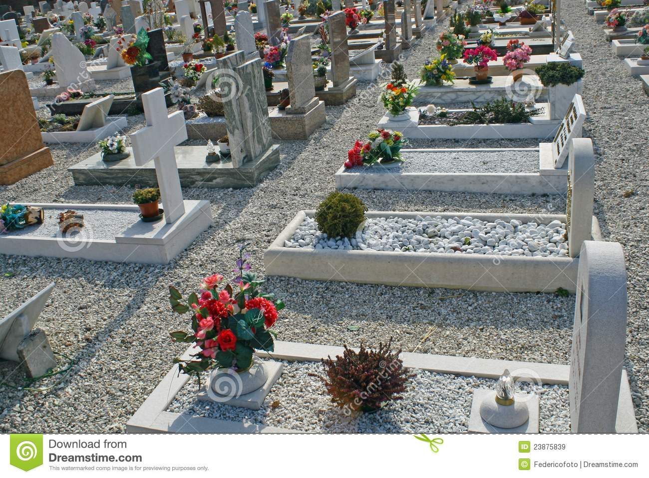 Graves headstones and crucifixes