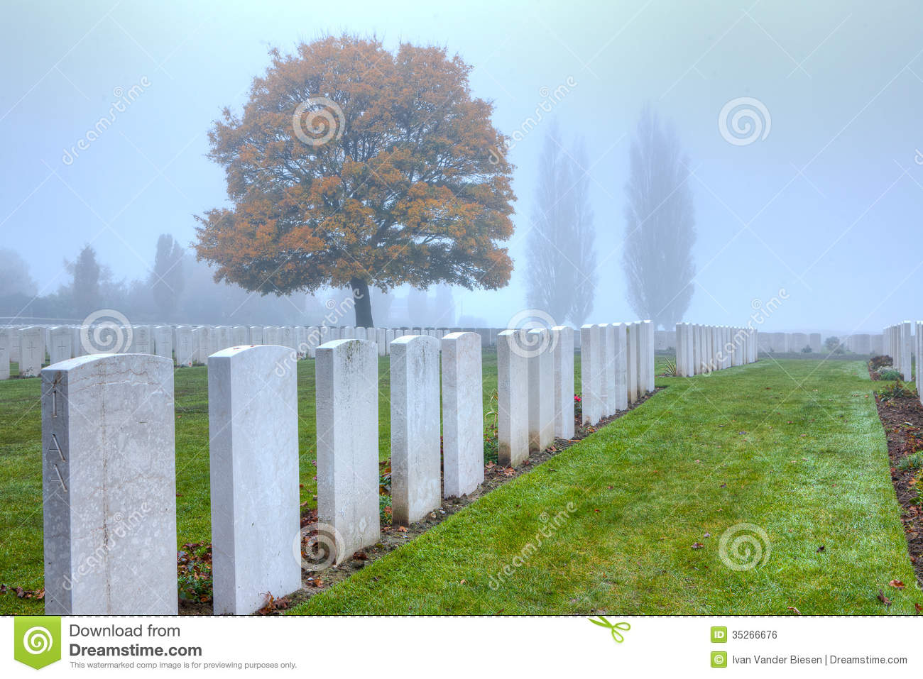 Graves of WWI soldiers at Tyne Cot, Flanders Fields