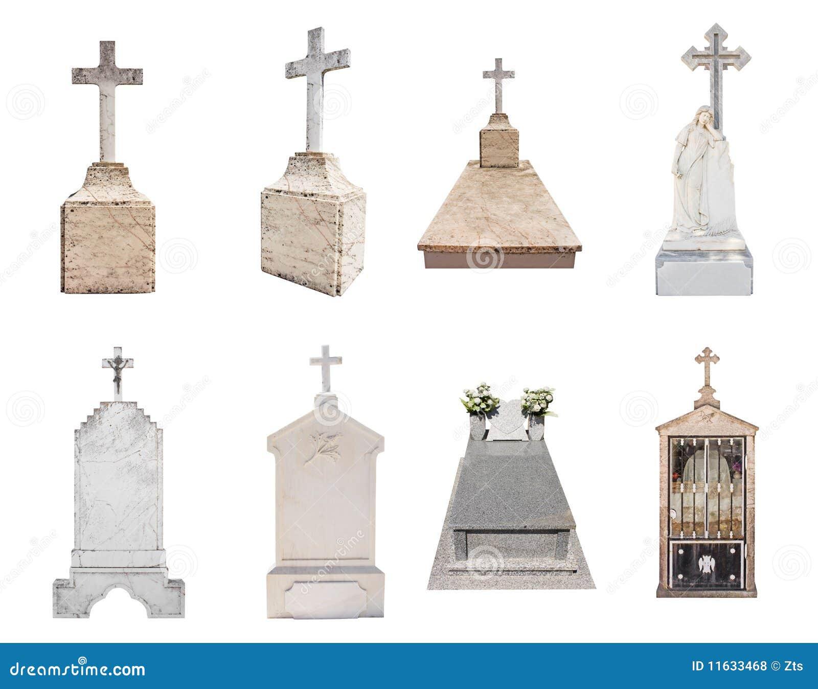 Gravestones isolated on white background