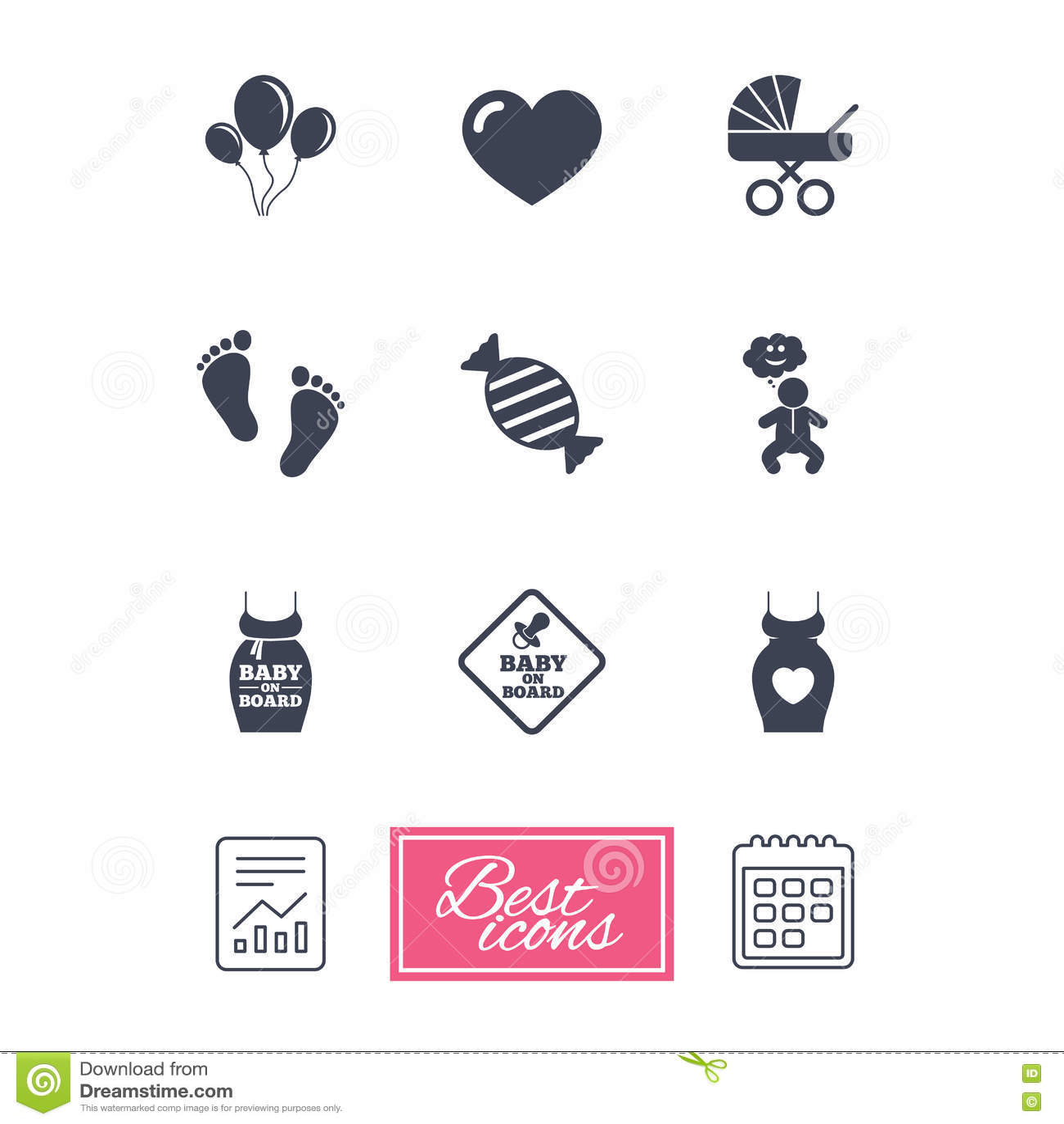 Calendario Maternita.Gravidanza Maternita Ed Icone Di Cura Del Bambino