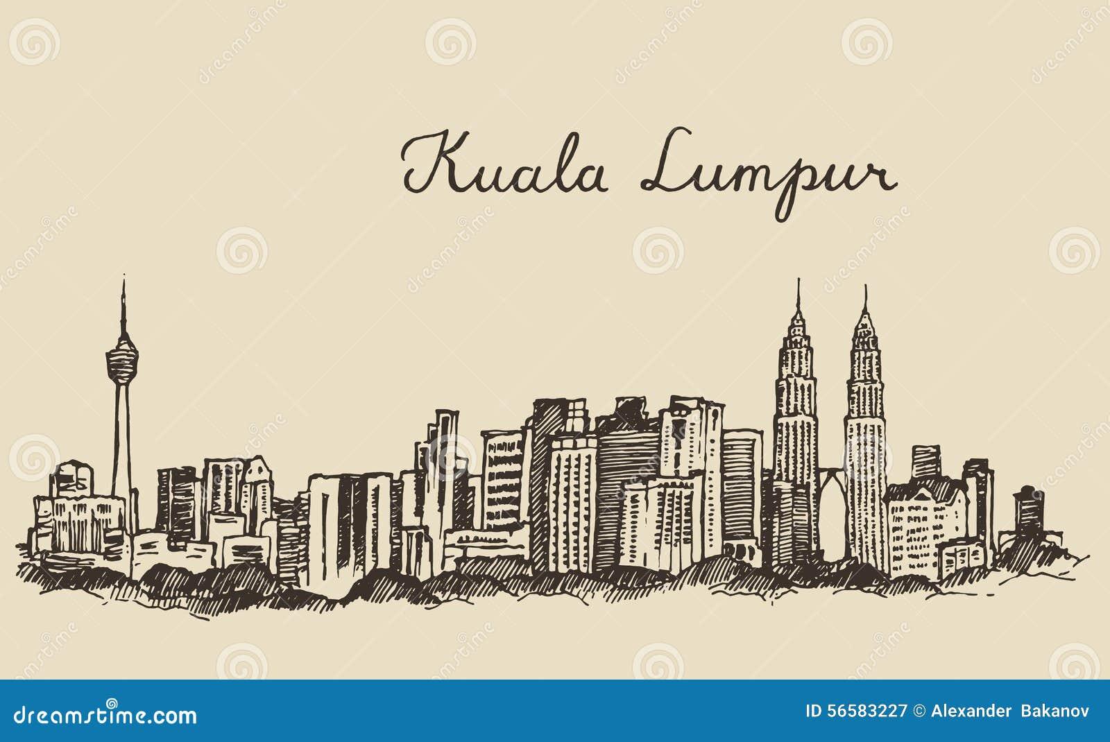 Gravierte Hand gezeichnete Skizze Kuala Lumpurs Skyline