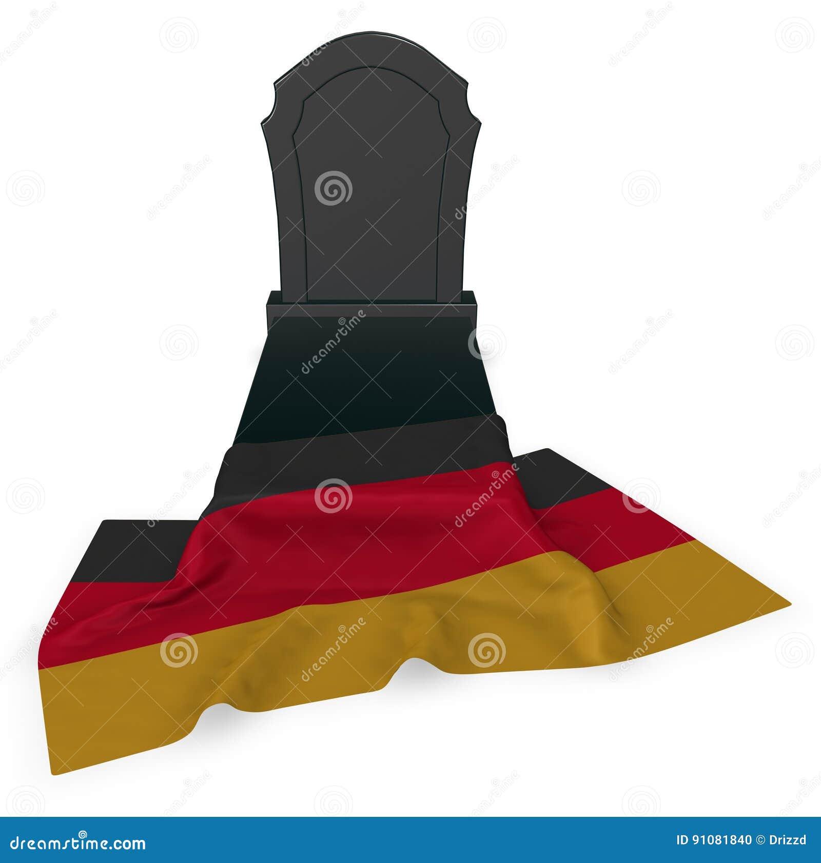 Gravsten och flagga av Tyskland