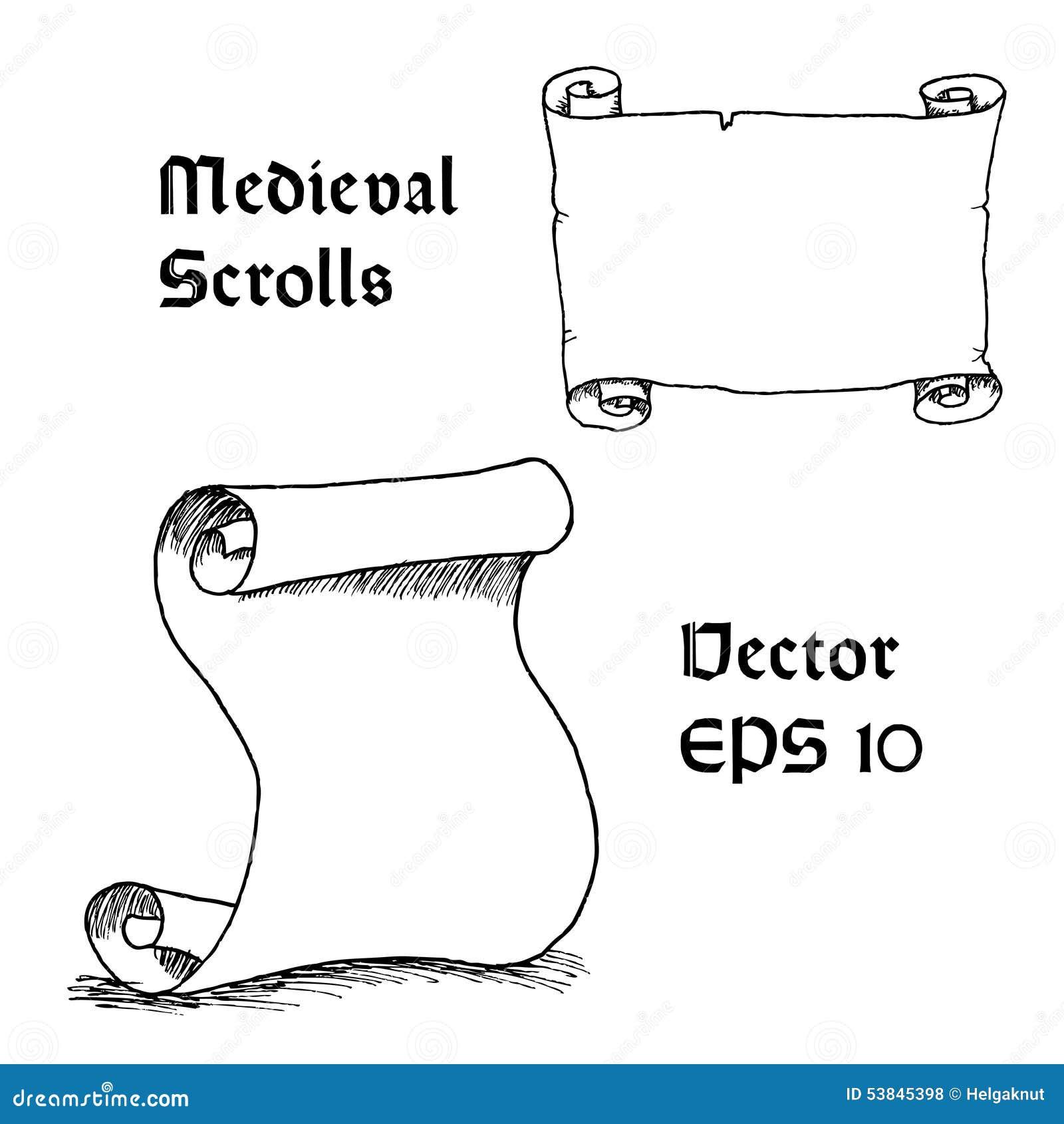 Gravura do rolo medieval vazio