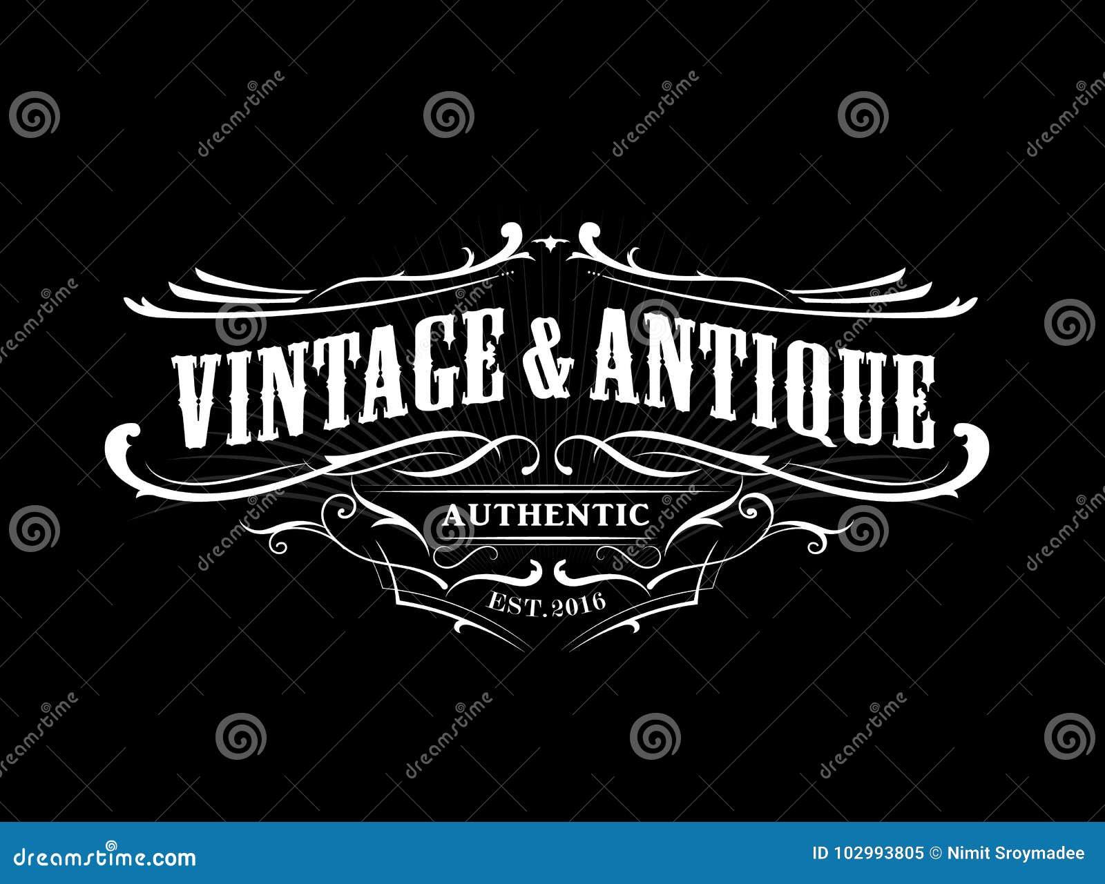 Gravure antique occidentale de label de cadre de frontière d insigne de vintage rétro
