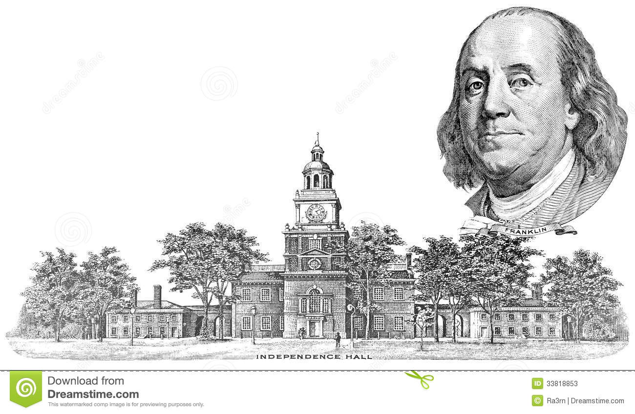 Gravure Of Benjamin Franklin And Independence Hall Stock