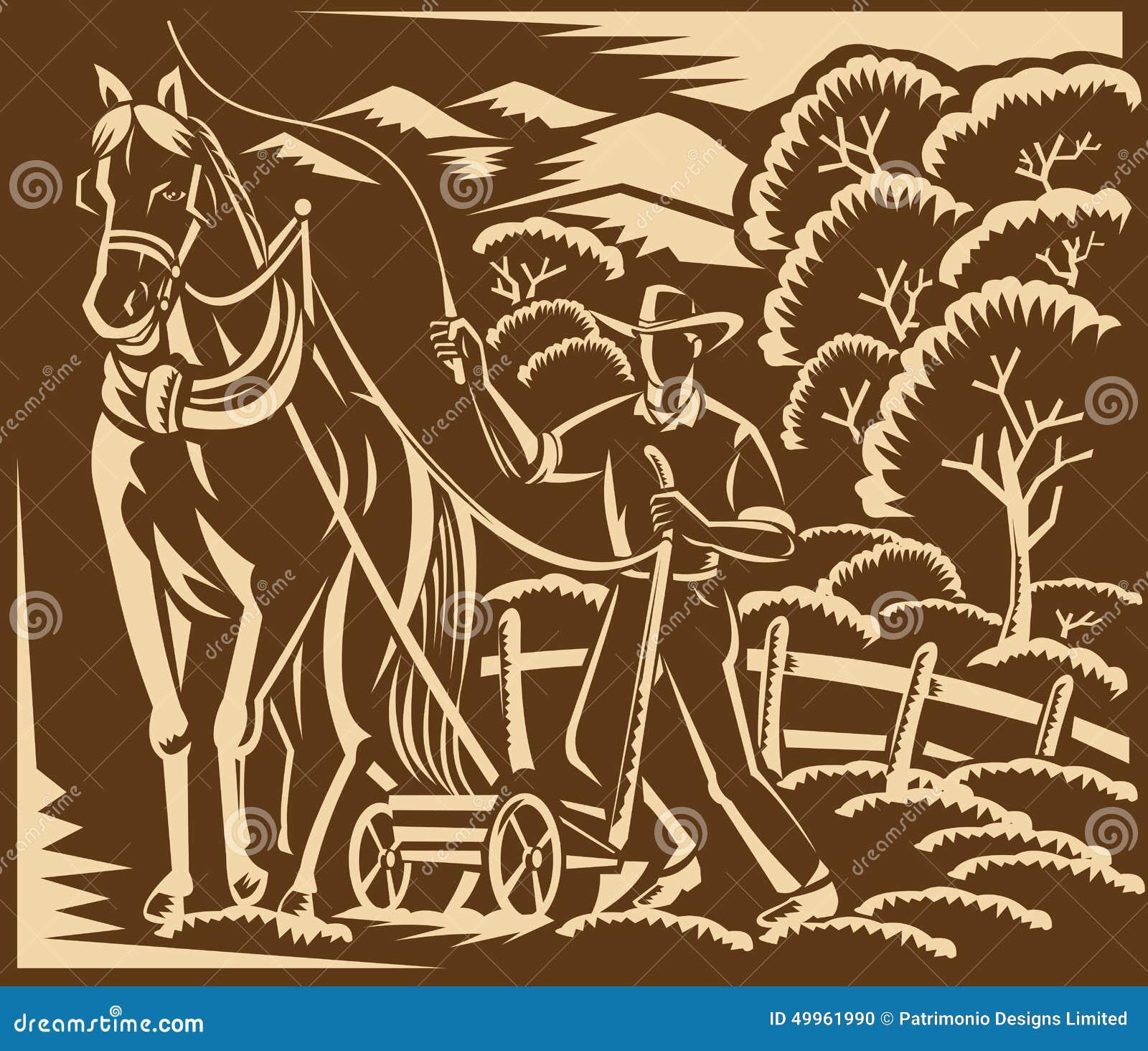 gravure sur bois en cheval de ferme de farming plowing. Black Bedroom Furniture Sets. Home Design Ideas