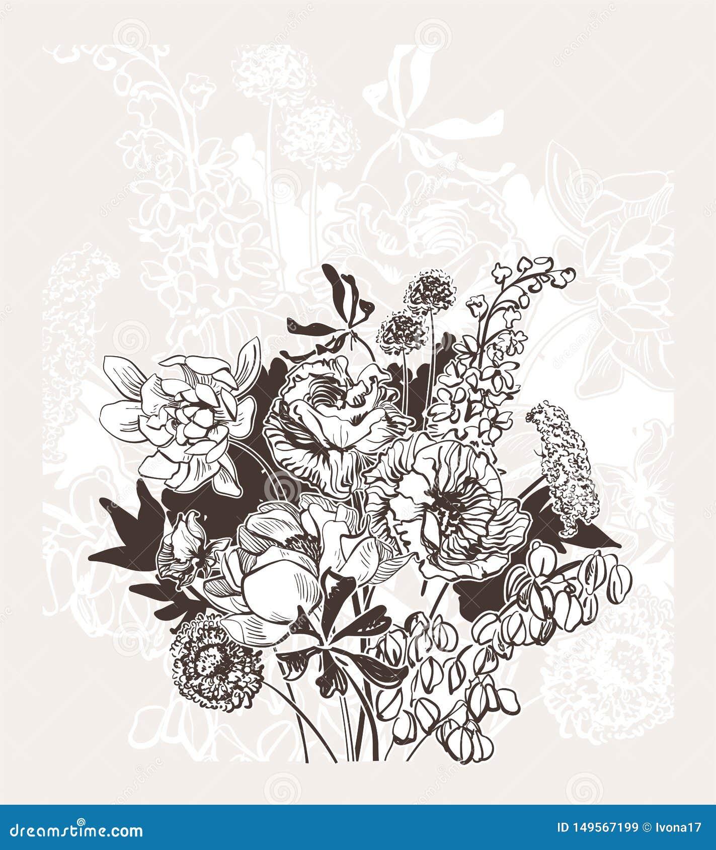 Grawerujący abstrakcjonistycznego kwiatu wektoru karty bakground elegancki ślub świętuje rocznik peoni