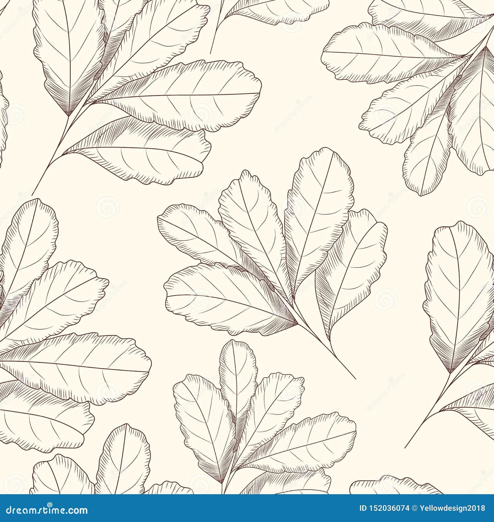 Grawerujący stylowego liścia bezszwowy wzór R?ka rysuj?ca wektorowa ilustracja d
