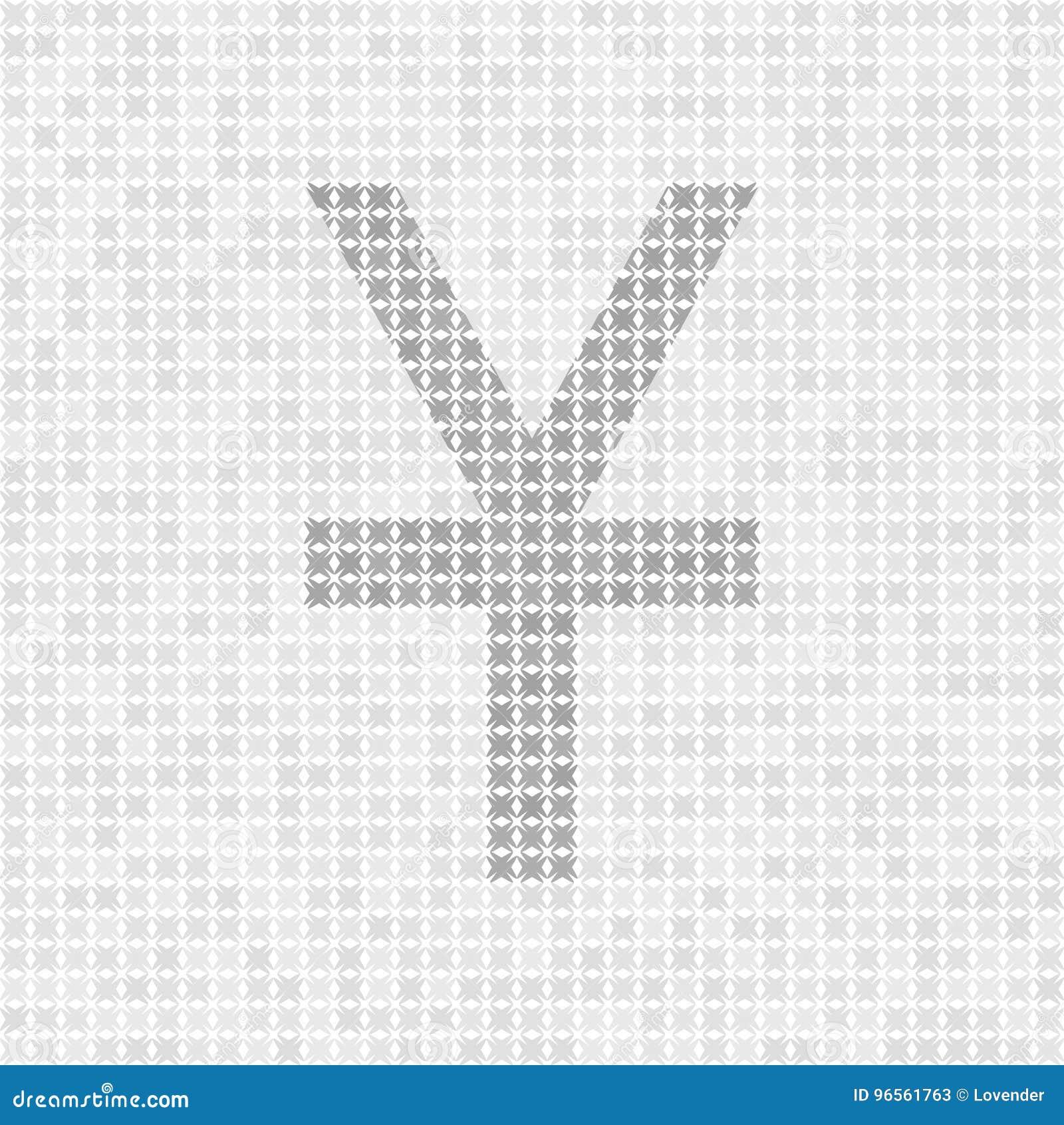 Gray Abstract Grid Vector Yenyuan Symbol Stock Vector