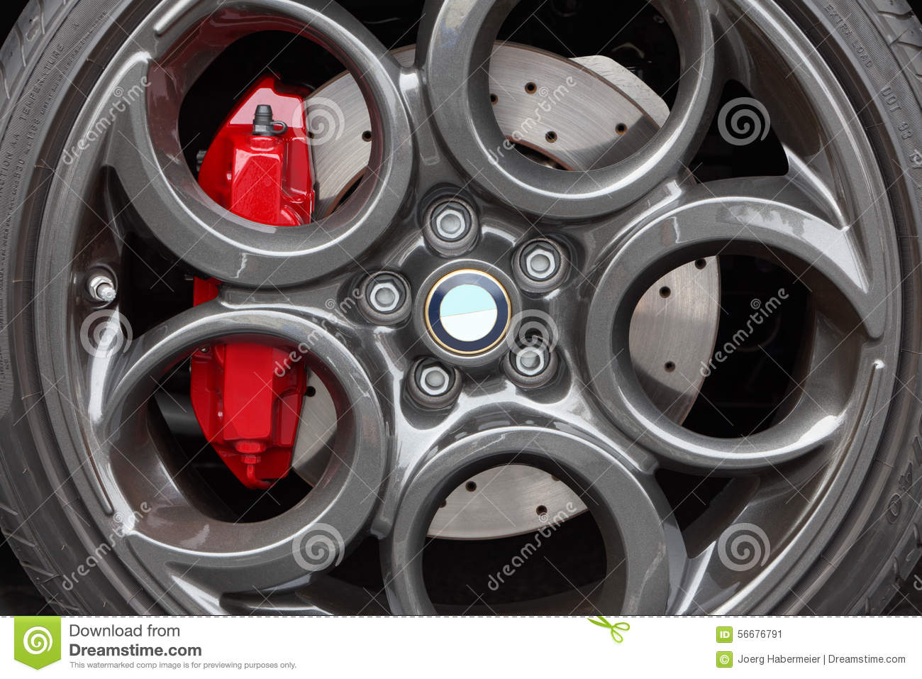 Gray Alloy Sports Car Wheel And Disc Brake Close Up Stock Photo Image 56676791