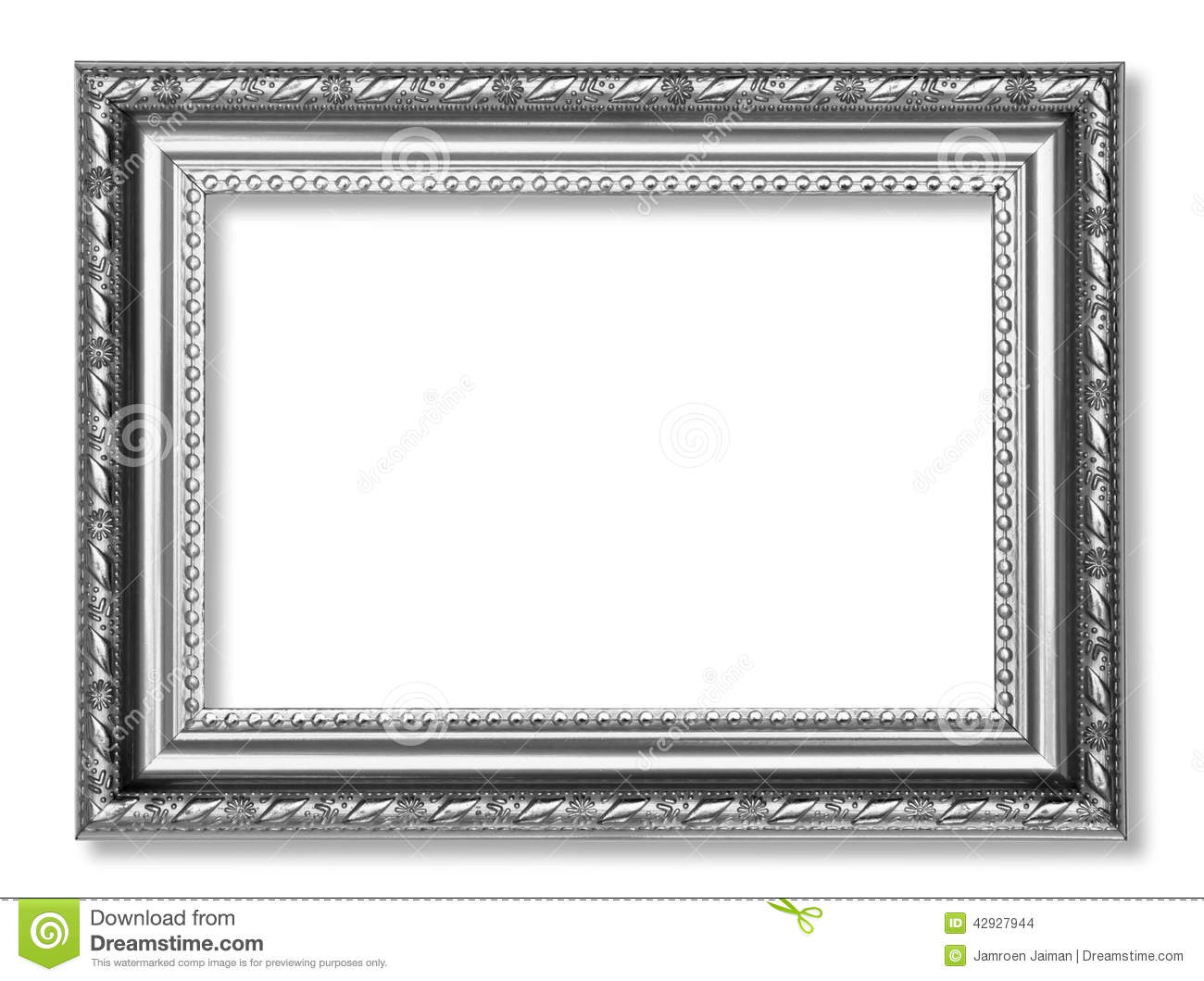 Gray Antique Frame Isolated On White Background Stock
