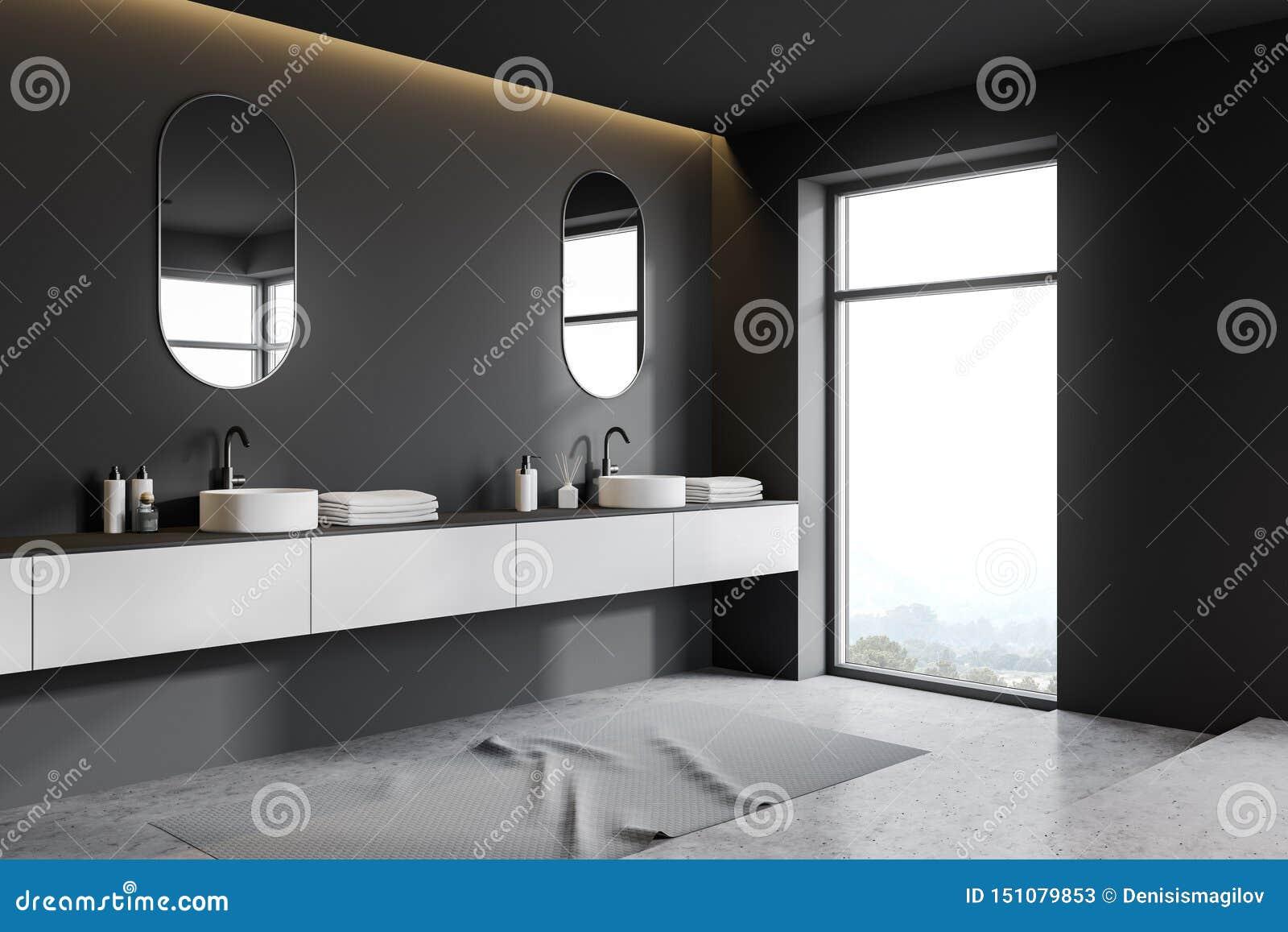 Gray Bathroom Corner Double Sink Stock Illustration Illustration Of Construction Architecture 151079853