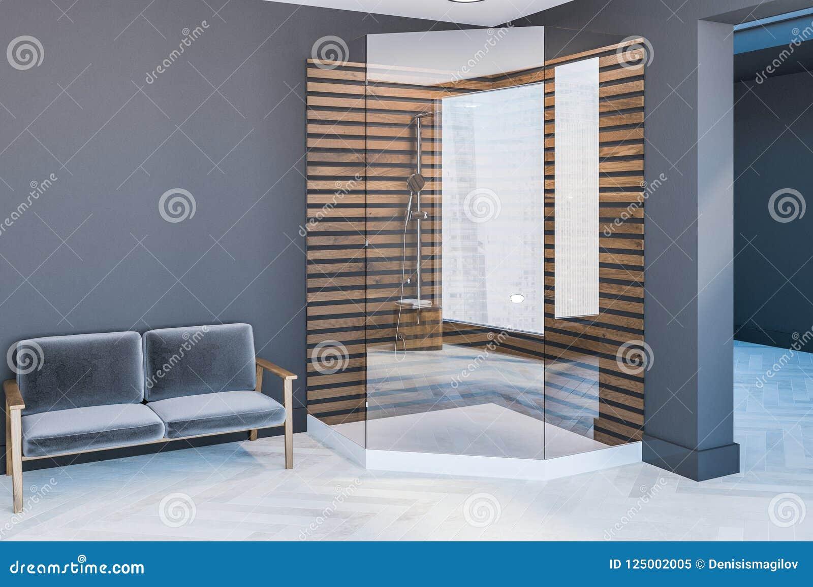 Gray Bathroom Corner Glass Door Shower Stock Illustration