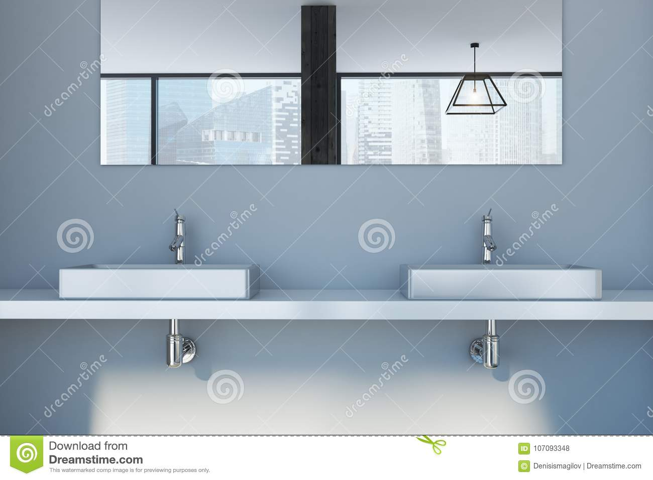 Gray Wall Bathroom, Double Sink Close Up Stock Illustration ...
