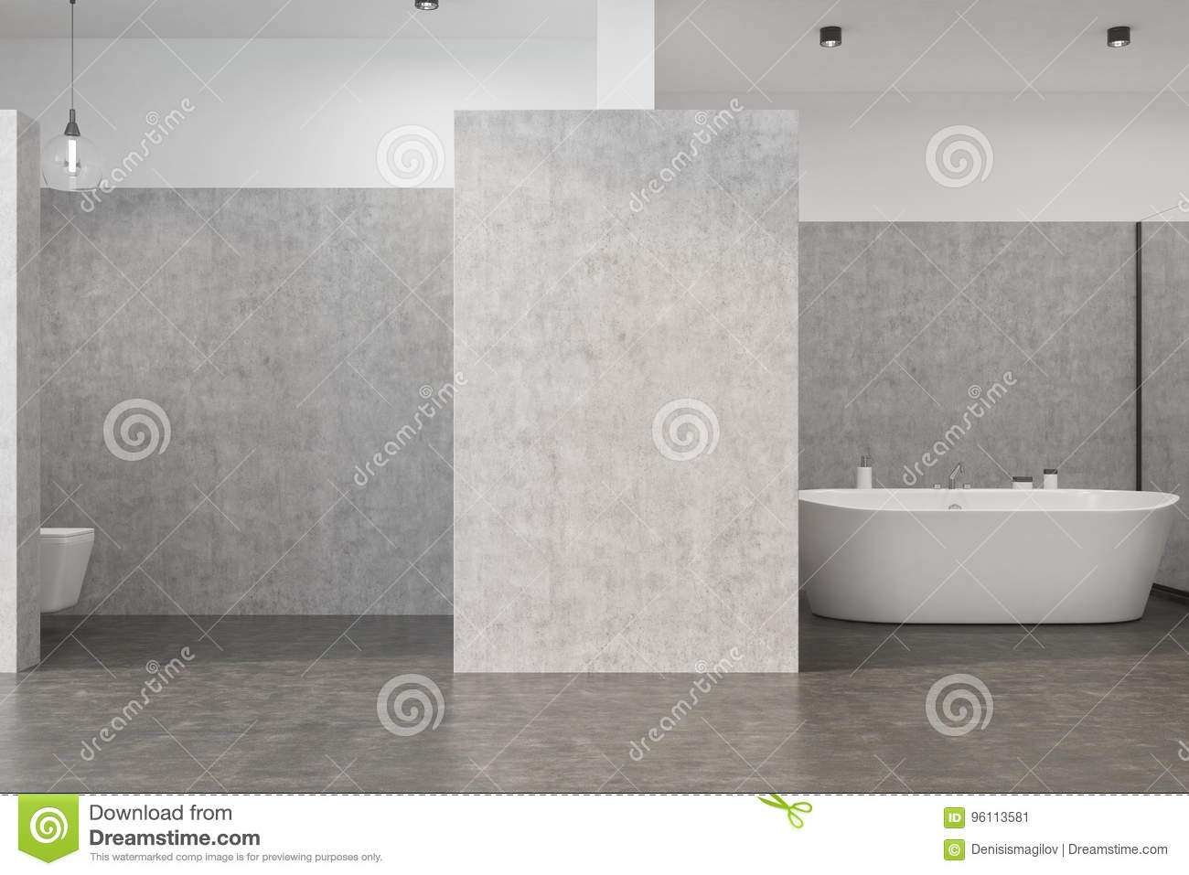 Gray bathroom interior with a concrete floor, a white tub, a toilet and an original lamp. 3d rendering mock up