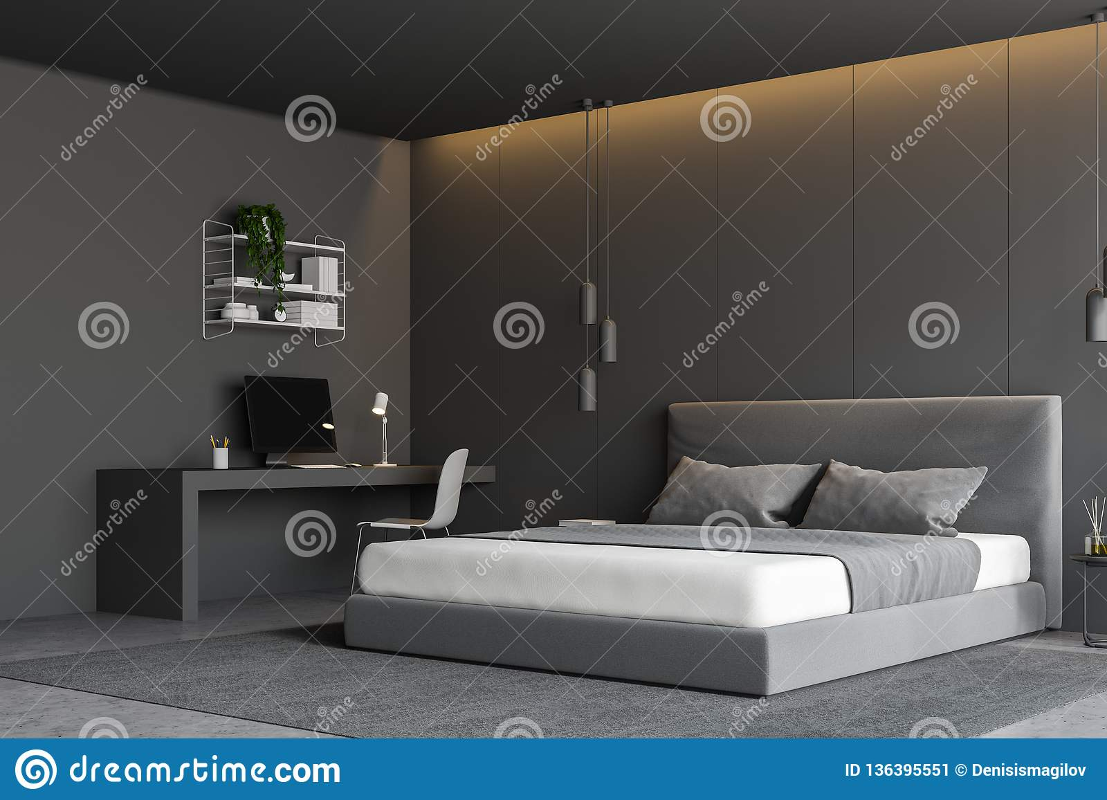 Gray Bedroom Corner With Computer Desk Stock Illustration ...