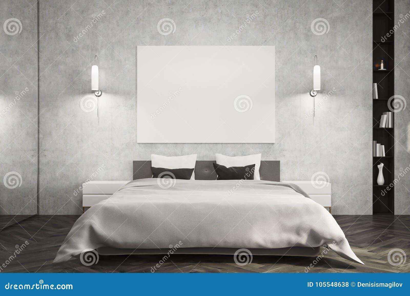 Gray Bedroom White Bed Poster Stock Illustration Illustration Of Paper Empty 105548638