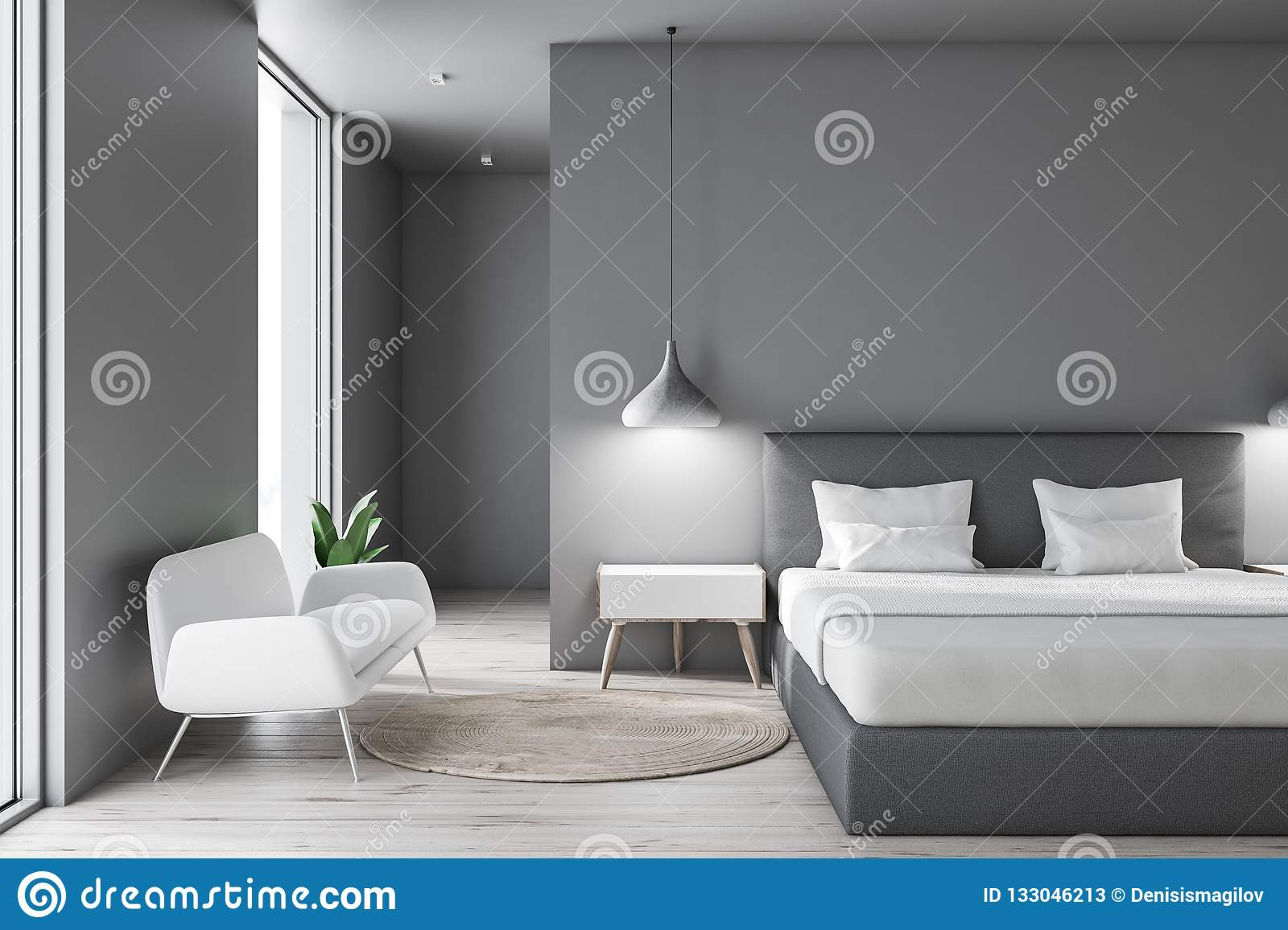 Magnificent Gray Bedroom With Sofa Stock Illustration Illustration Of Gamerscity Chair Design For Home Gamerscityorg