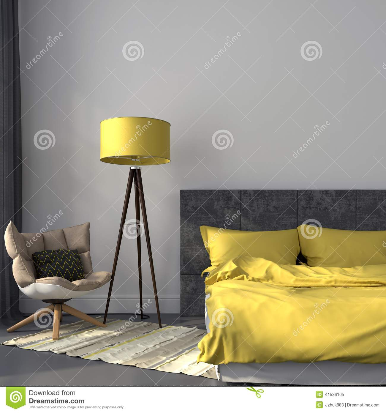 Gray Bedroom And Yellow Decor Stock Photo Image 41536105