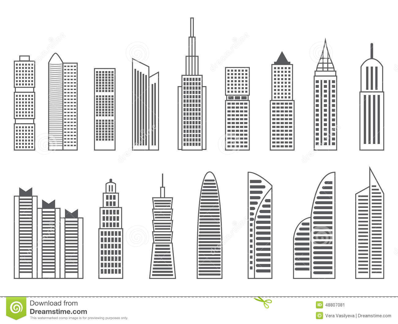 Gray Or Black Shapes Of Skyscrapers On White Background