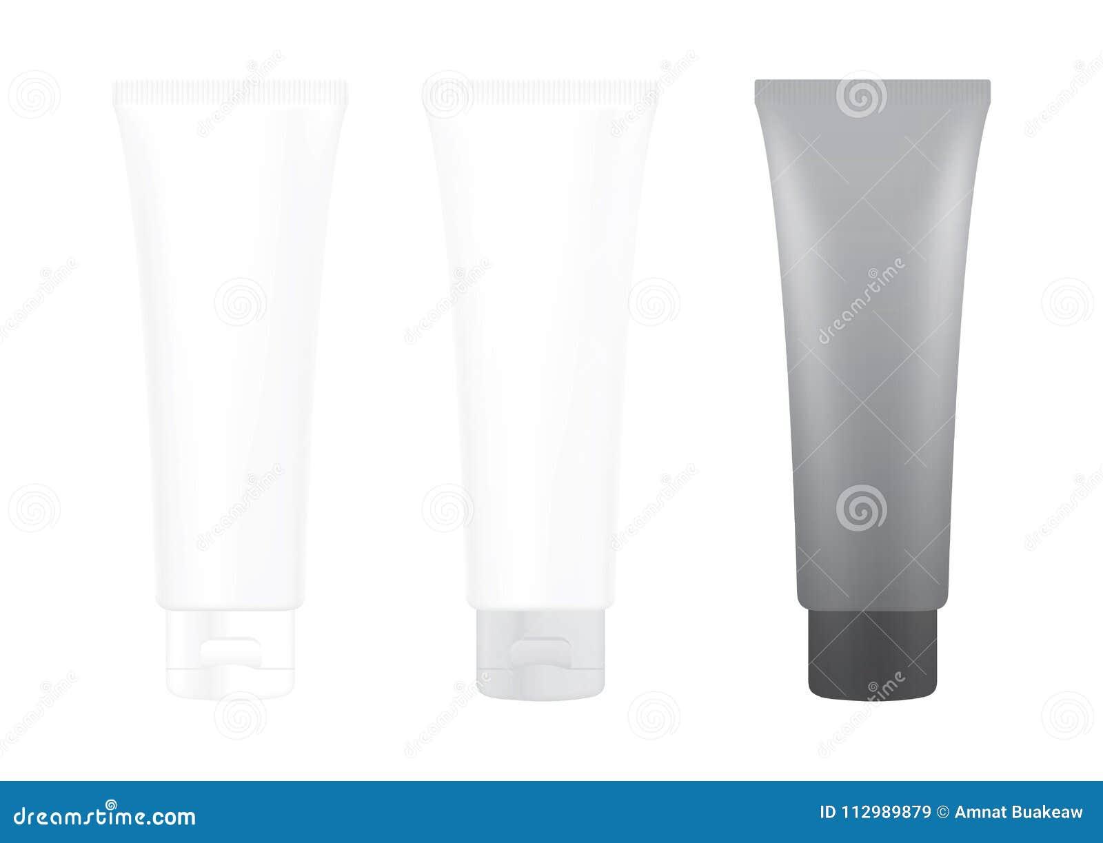 Tube Gray Black Cream Foam Bottle on white background isolated, cosmetics, cream tube treatment tube white