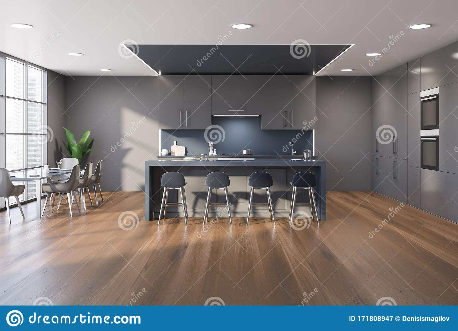 Gray And Blue Kitchen With Bar And Table Stock Illustration ...