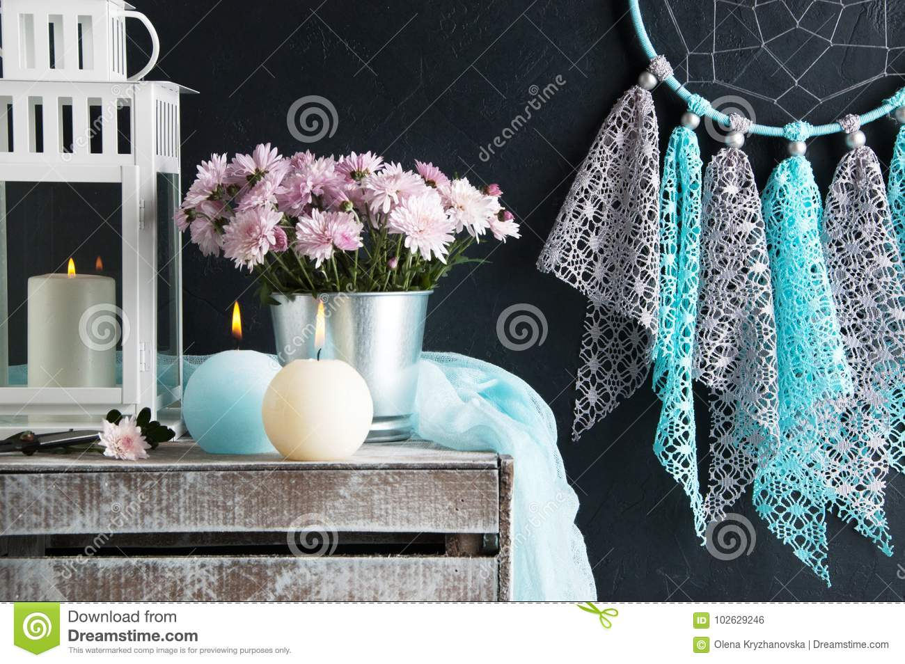 Dream Catcher And Aroma Candles Stock Photo Image Of Color Design