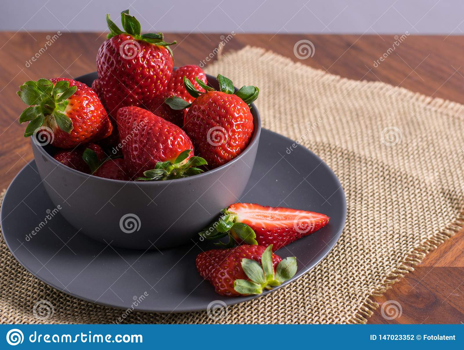 Gray Bowl with strawberries