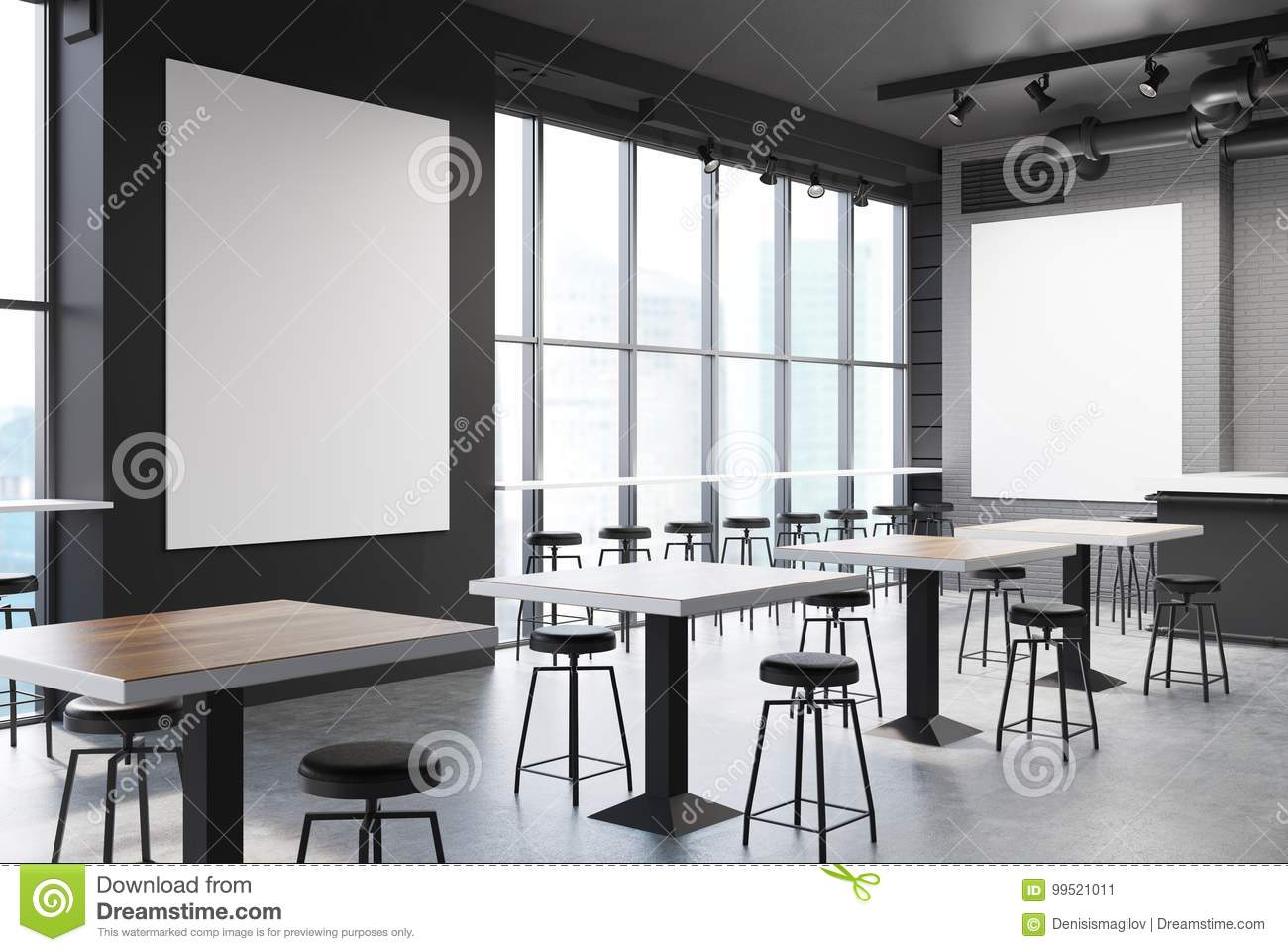 Gray And Brick Bar With A Poster, Concrete Stock Illustration ...