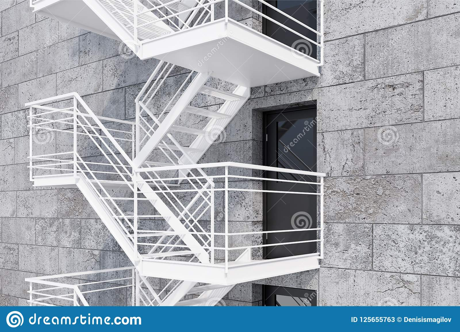 Side View Of Modern Building Exterior With Concrete Brick Walls, Grey Doors  And Emergency Exit Stairs. Concept Of Plan B And Creative Thinking.