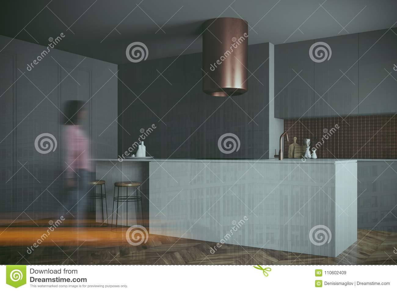 Gray, Bronze Kitchen, Gray Countertops Side Blur Stock Image - Image ...