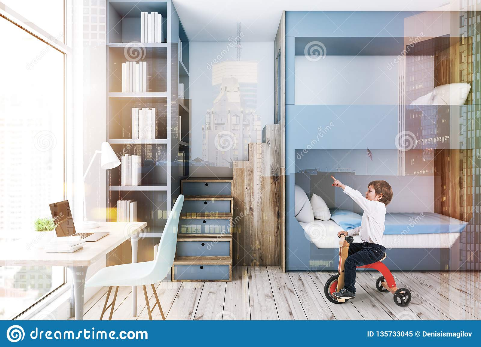 Picture of: Gray Bunk Bed Bedroom Computer Desk Boy Stock Image Image Of Design Home 135733045