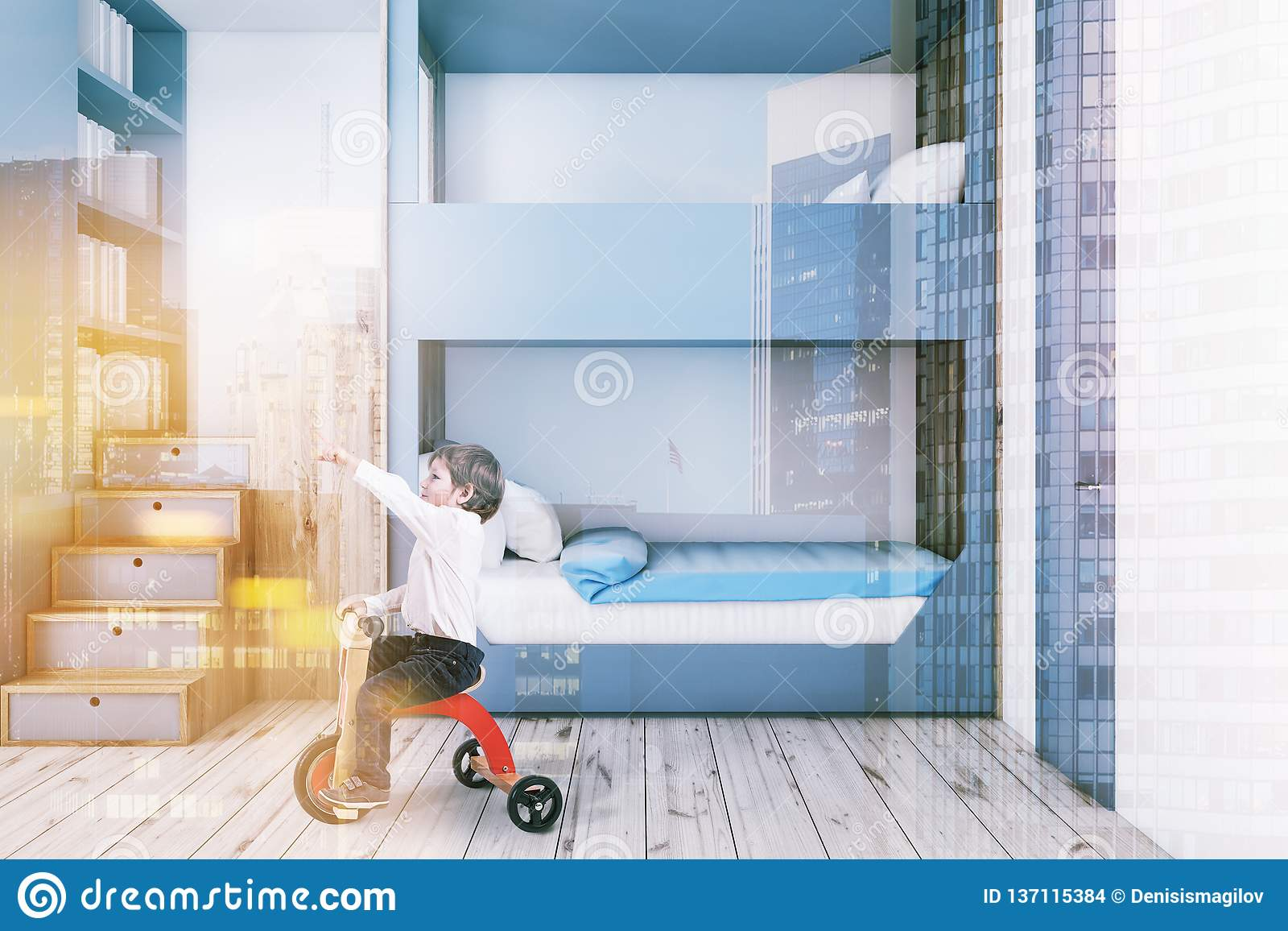Gray Bunk Bed Bedroom Interior Boy Stock Photo Image Of Computer Indoor 137115384