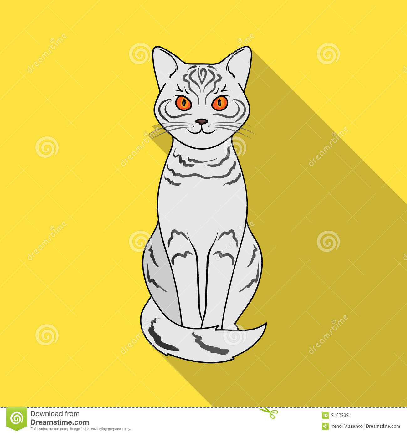 Gray Catimals Single Icon In Flat Style Vector Symbol Stock