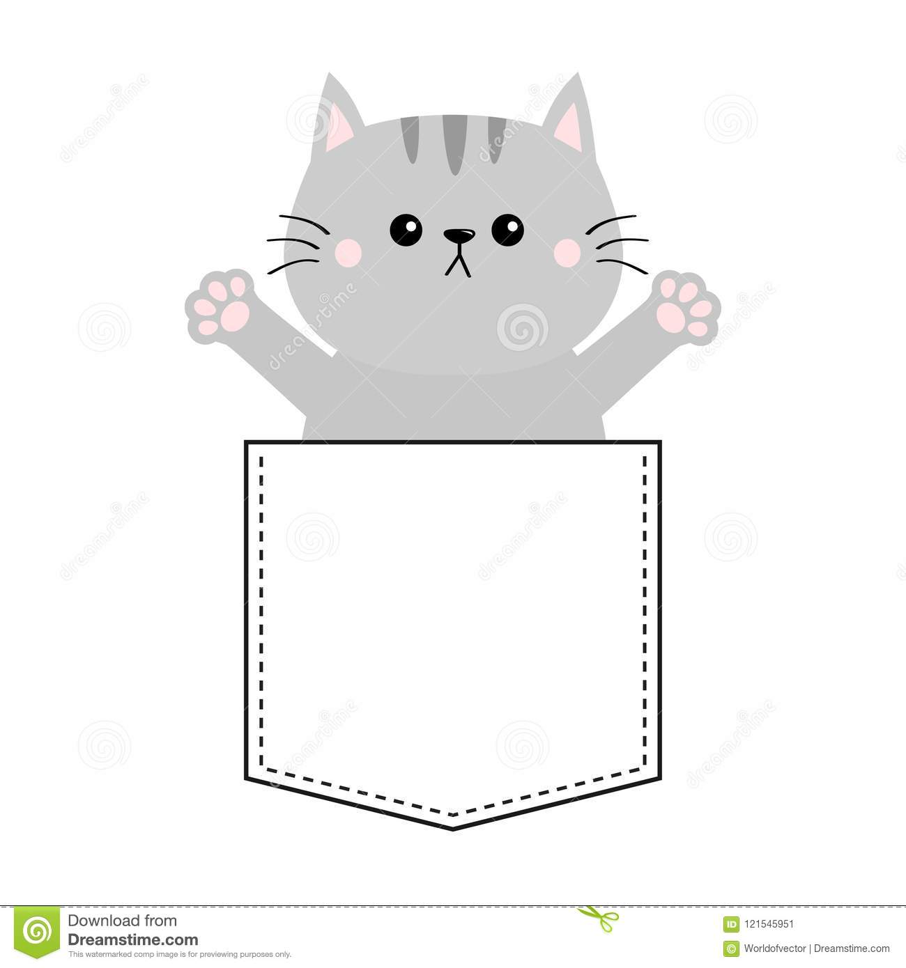 Gray Cat In Pocket Holding Hands Up Give Me A Hug Cute Cartoon