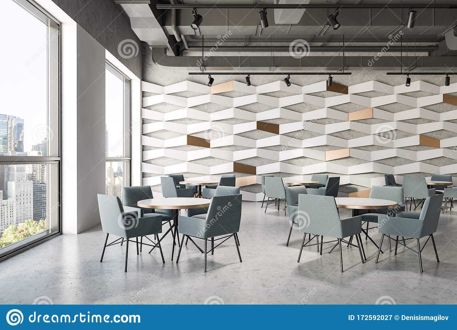Gray Ceiling Geometric Pattern Cafe Interior Stock Illustration Illustration Of Comfortable Concrete 172592027