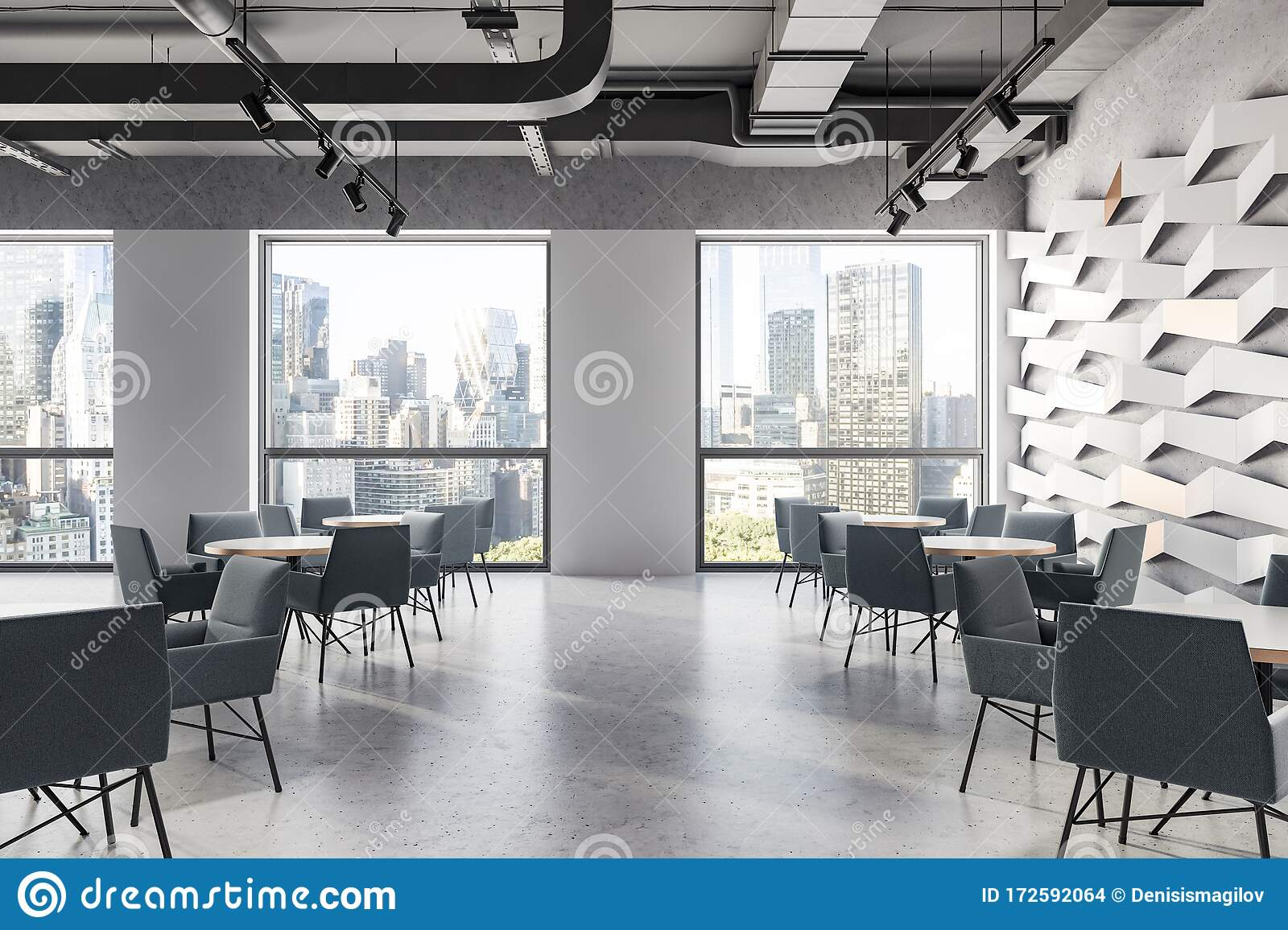 Gray Ceiling Geometric Pattern Cafe With Windows Stock Illustration Illustration Of Grey Inside 172592064