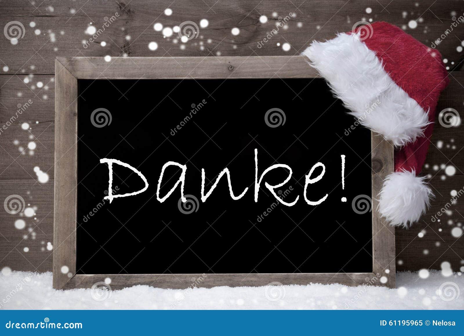 Gray Christmas Card, Chalkboard, Danke Mean Thank You, Snow Stock ...