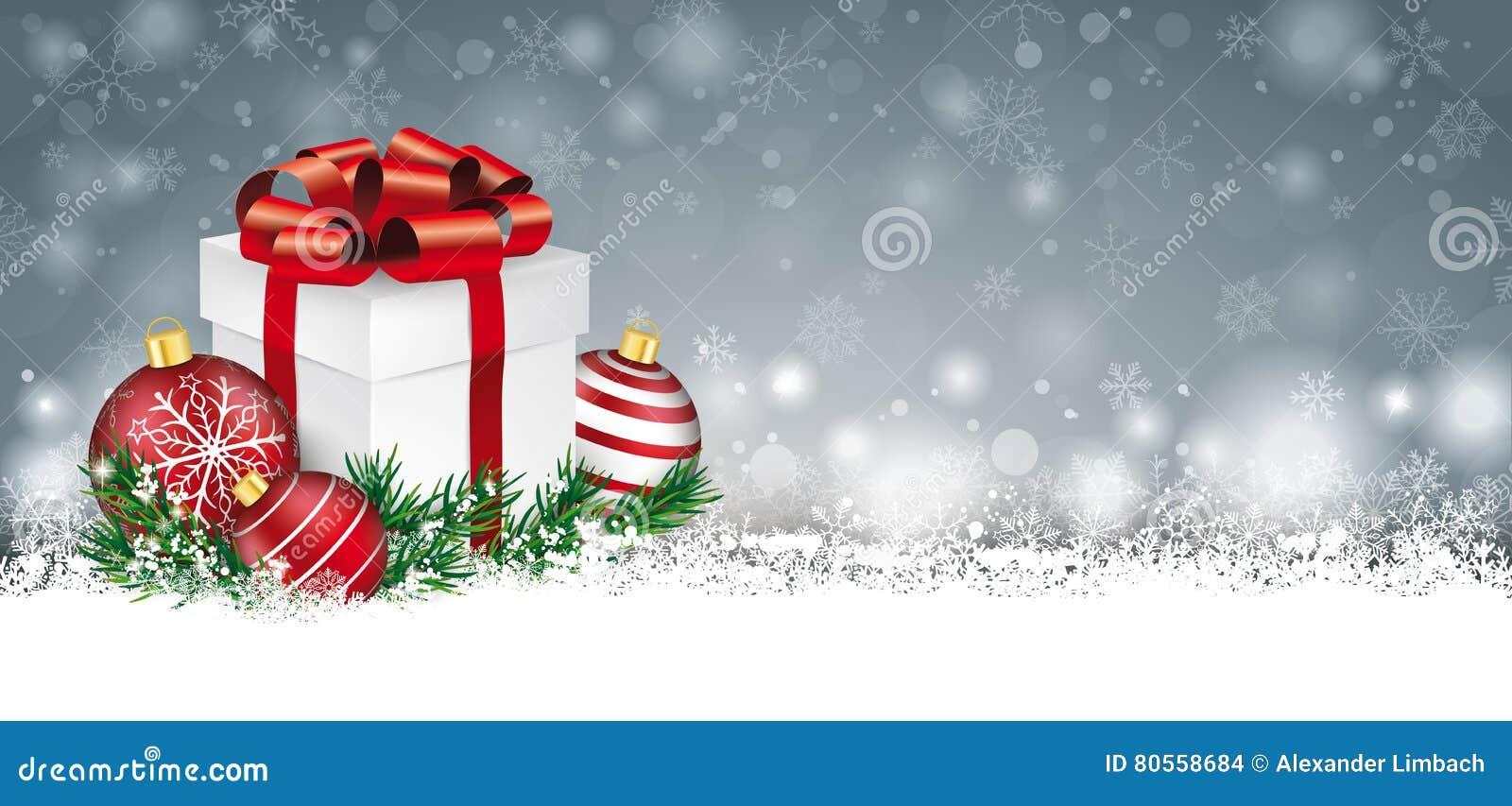 Gray Christmas Card Snow Baubles-de Kopbal van de Takjesgift
