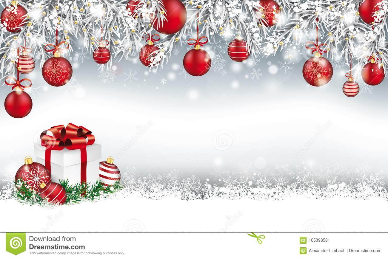 Christmas Header Image.Christmas Header Twigs Red Baubles Gift Stock Vector