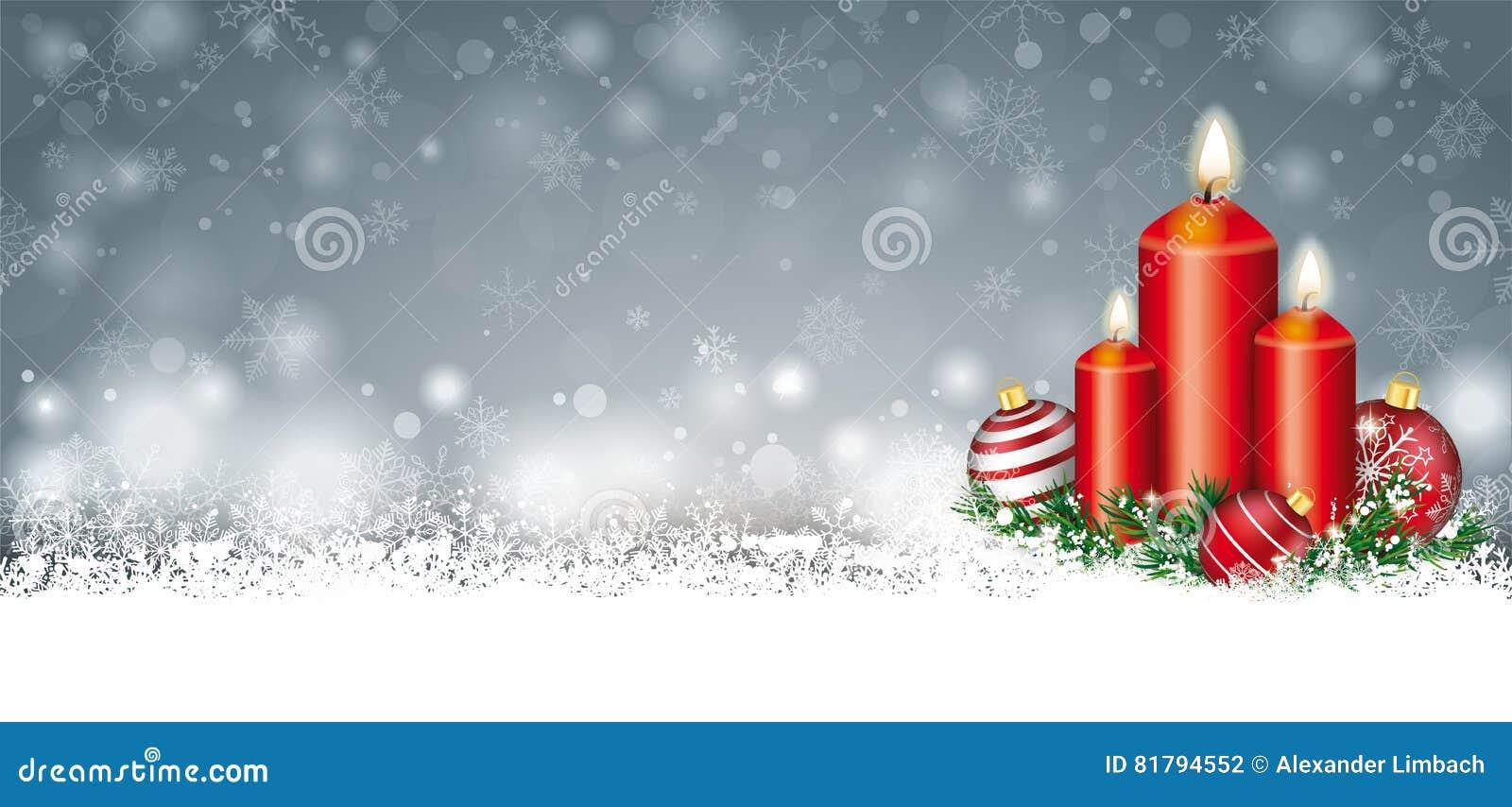 Gray Christmas Card Snow Baubles-Takjes 3 Kaarsenkopbal