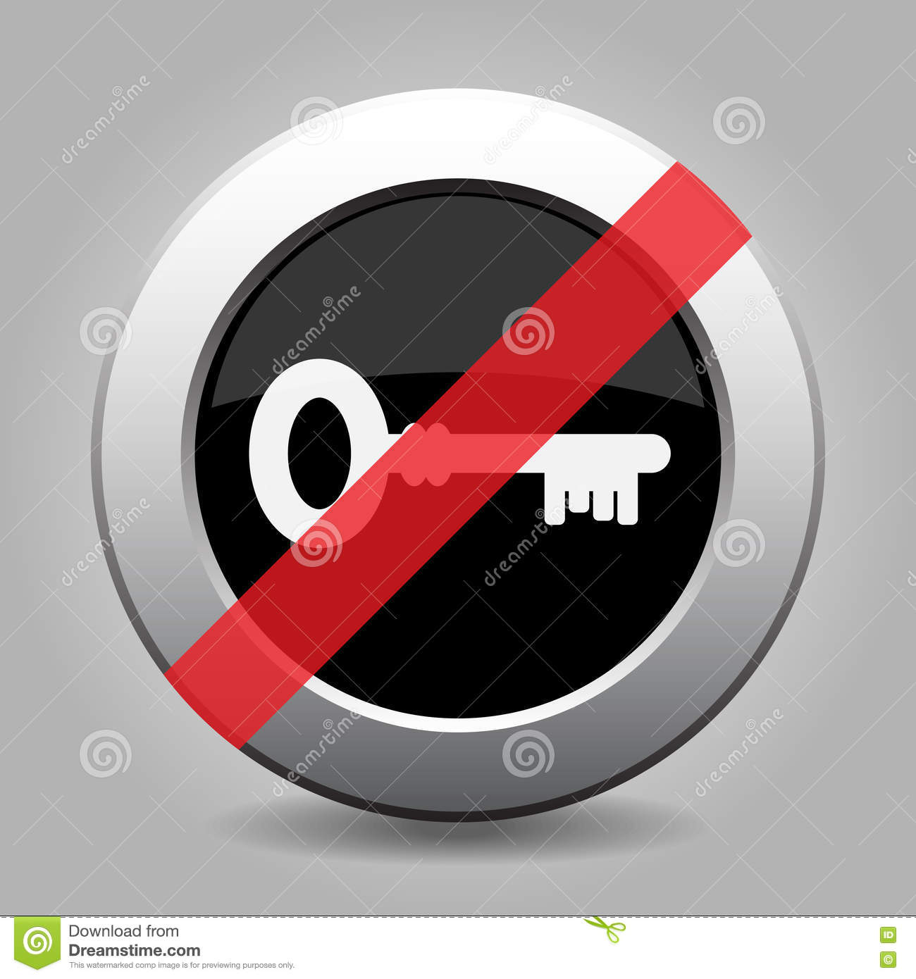 Gray Chrome Button - No Key Stock Vector - Illustration of button